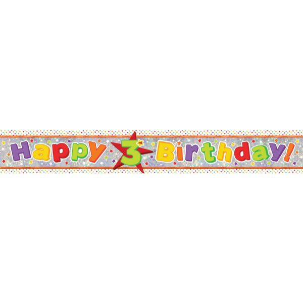 Holographic Happy 3rd Birthday Foil Banner